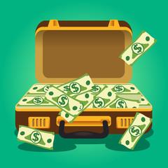Open suitcase full of money. Vector illustration