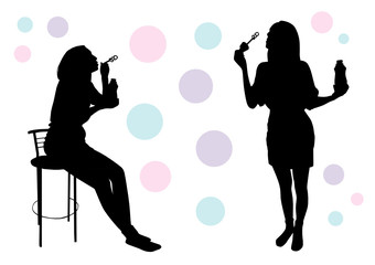 Girl blow bubbles silhouette