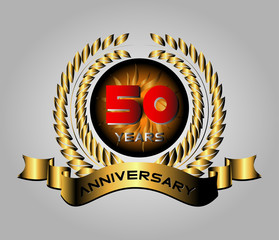50 years anniversary golden label with ribbons, vector