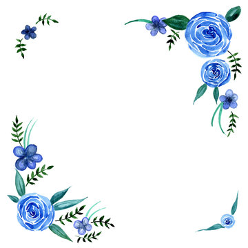 Watercolor blue flowers with leaves wreath frame vector