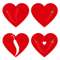 Chili pepper heart. Passion and Love symbol. Vector set, isolate
