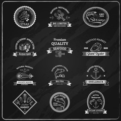Vintage Seafood Badges Chalkboard