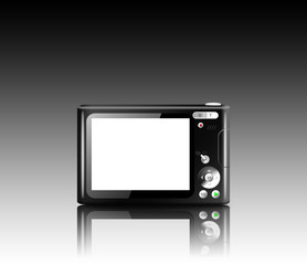 Compact digital camera with empty LCD screen isolated on reflective table