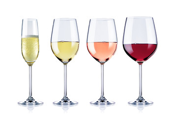 diverse Weingläser, freigestellt