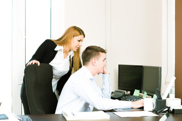 Business team working online from a computer