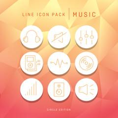 Line icon set music