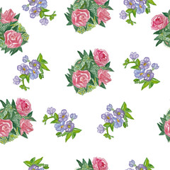 Seamless watercolor rose pattern.