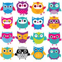 cutesy owls clip art set