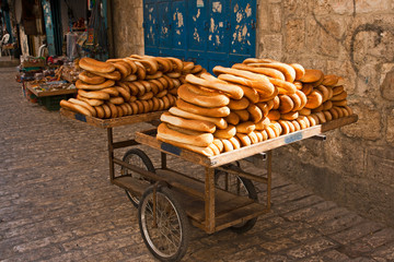 Cart of bread in the streets of Old Jerusalem.