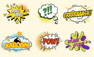 Comic speech bubbles in pop art style with bomb cartoon