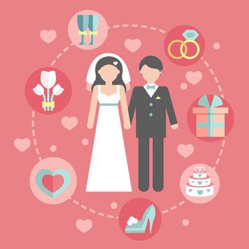 Wedding infographic set with Cartoon Bride and groom.Wedding day