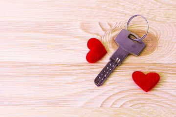 Keys and heart on the table