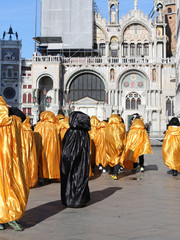 Golden costumes for the Carnival in Venice
