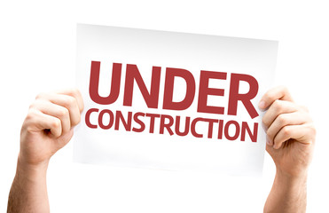 Under Construction card isolated on white background