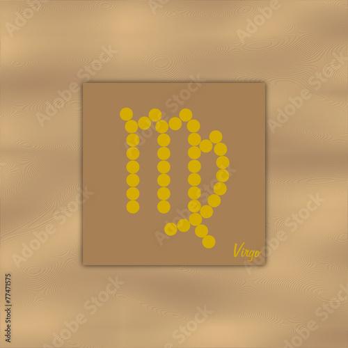 Symbol Sternzeichen Jungfrau Auf Element Erde In Farbe Braun