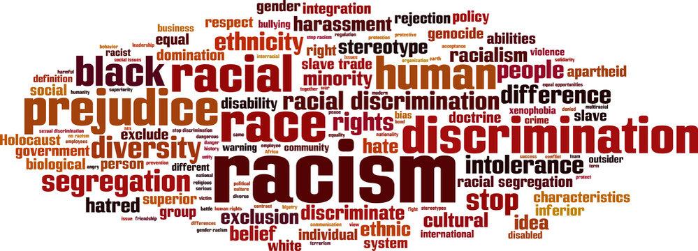Racism word cloud concept. Vector illustration