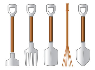 gardening isolated tools set