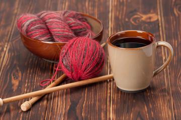 Knitting Accessories. Yarn Balls. Wooden Knit Needles