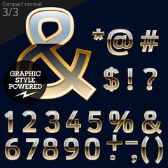 Illustration of golden alphabet. Compact 3