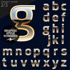 Illustration of golden alphabet. Compact 2