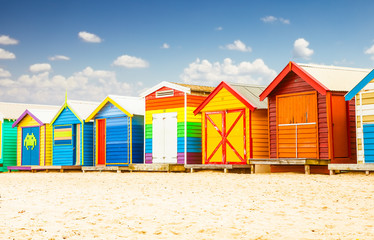 Bathing houses at Brighton beach in Melbourne, Australia.