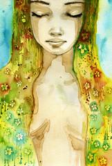 Keuken foto achterwand Schilderkunstige Inspiratie flower woman