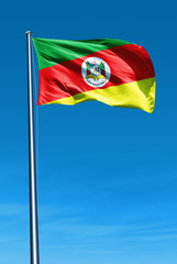 Rio Grande do Sul (Brazil) flag waving on the wind