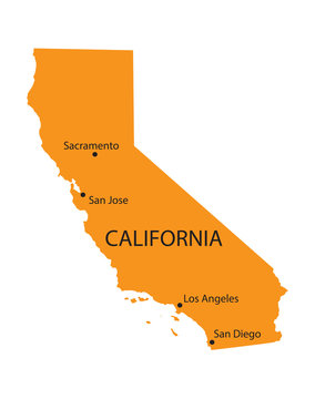 orange map of California with indication of the biggest cities