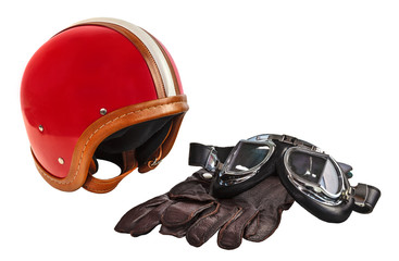 Vintage motor helmet with goggles and gloves