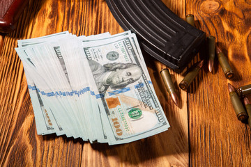 Kalashnikov ammunition and US dollars