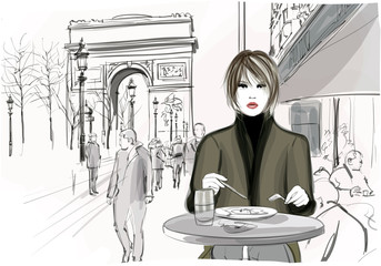 Canvas Prints Art Studio Pretty woman having a lunch at the Champs-Elysees in Paris