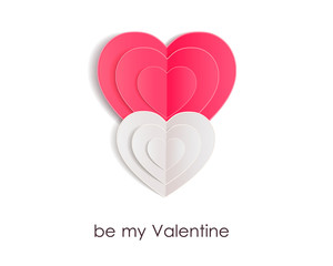 Valentines day background with paper hearts isolated on white