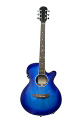The image of blue acoustic guitar isolated