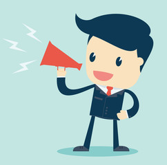 Cartoon Illustration of  Businessman Speaking with a Megaphone