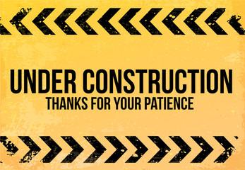 Yellow - black sign grunge Under Construction vector