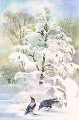 Watercolor winter forest with trees and birds