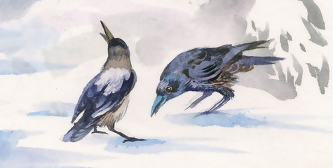 Watercolor crows on snow