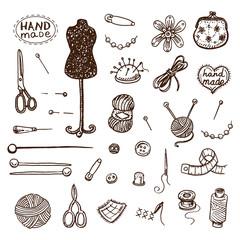 Hand drawn sewing icons set