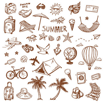 Hand drawn summer travel doodles set.