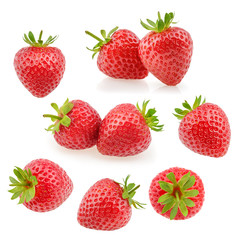 Strawberry fruits on white. Collection