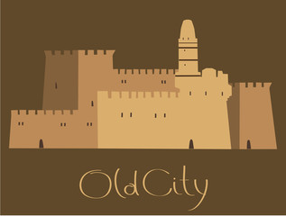 David Tower, Old City, Middle East Town, Vector Illustration
