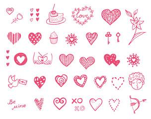 Happy Valentine's doodle set. Hand drawn hearts.