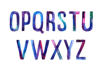 Hand drawn watercolor font, letters O-Z