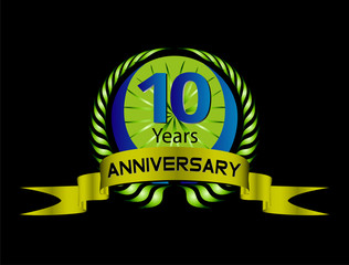 Celebrating 10 Years Anniversary - Green Laurel Wreath Seal