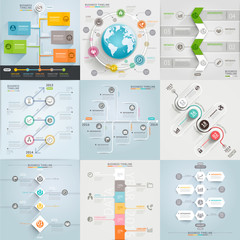 Business timeline elements template.