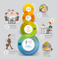 Business growth timeline infographic concept.