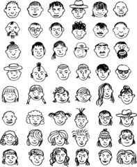 doodle set of faces