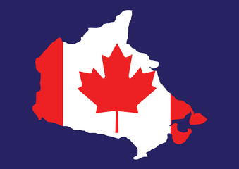 Canada map with flag inside, canada map vector