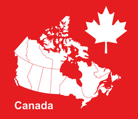 canada map and flag, canada map vector