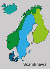 Scandinavian map,  Scandinavian vector, Scandinavian